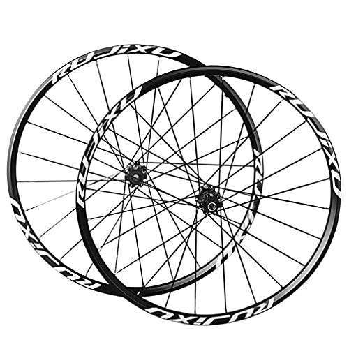 MZPWJD Ruedas Bicicleta Montaña Ruedas Juego 26/27.5/29 Rueda MTB Pulgadas Doble Pared De Llanta 24H Carbono Buje Eje Pasante Freno Disco 7-11 Velocidad 1590g (Color : Black, Size : 27.5 in)