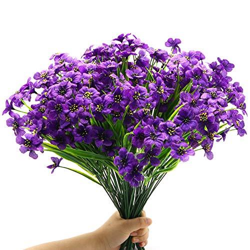 16 Bundles Artificial Outdoor Flowers Faux Plastic Plants Greenery Shrubs Fake Violet Flowers for Porch Window Box Hanging Basket Garden Decor, UV Resistant No Fade