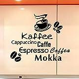 Stonges Tazas de café Pegatinas de pared Kaffee Caffe Art Vinyl Decal Kitchen Restaurant Cafe Bar Decoración del hogar