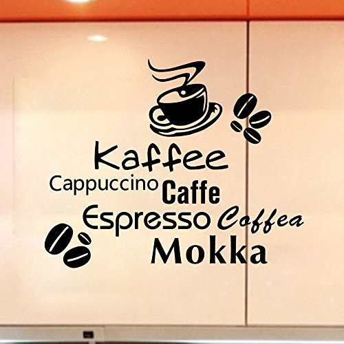 Stonges Adesivi murali tazze caffè Kaffee Caffe Art Decalcomania in vinile Cucina Ristorante Cafe Bar Decorazione della casa