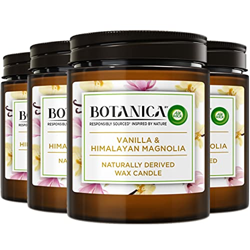 BOTANICA by Air Wick Air Freshener Vanilla and Himalaya Magnolia Naturally Derived Wax Candle, 205 g (Pack of 4)