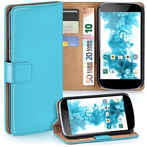 MoEx® Booklet mit Flip Funktion [360 Grad Voll-Schutz] für LG Google Nexus 4 | Geldfach & Kartenfach + Stand-Funktion & Magnet-Verschluss, Türkis