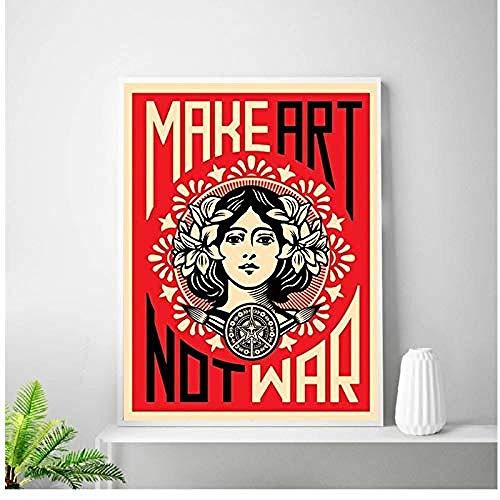 Canvas print,Decoraties schilderij print Make Art Not War Poster Art Poster Room Decor-60x80cm