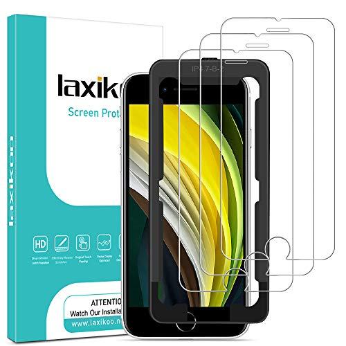 """laxikoo [3 Pièces] Verre Trempé pour iPhone SE 2020, Film Protection écran iPhone 8 /iPhone 7 avec Kit Installation Offert Sans Bulles Dureté 9H Vitre Protecteur pour iPhone SE 2020/8 /7/6/6s - 4.7"""""""