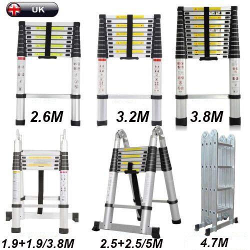 5M (2,5+2,5m) A-Frame Telescopische Ladder Vouwen Ladder Extension Ladder Uitschuifbaar Draagbaar met scharnieren Max 150kg Draagvermogen met Non-slip Rubber Voeten Compact en Stevig, EN131 Certificaat 3.8m(1.9+1.9m) Foldable Ladder