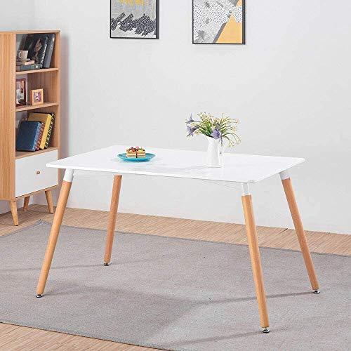 DORAFAIR Rechteckig Esszimmertisch Küchentisch Wohnzimmer Tisch, Skandinavisch Esstisch MDF, Weiß