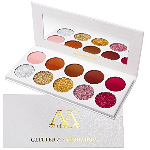 Lidschatten Palette Glitzer Und Matte, Valuemakers Eyeshadow Palette Red Rose Gold Silber Brown Warm 10 Colors,Hochpigmentierte Lange Andauernd Glitter Cream Groß Palette Lidschatten Make-up Set