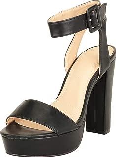 Cambridge Select Women's Open Toe Single Band Ankle Strap Chunky Platform High Heel Sandal