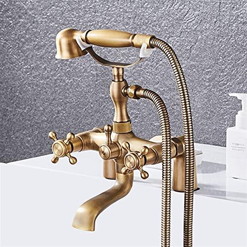 AXWT Cubierta de ducha de bañera antigua Bronce cepillado Cubierta simple Instalación de la cubierta de la ducha Doble mango 2 Funciones de la mano de la mano de la mano de la mano de la válvula de me
