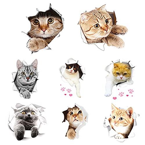 Swetup Wandtattoo, 8 Stück 3D Katzen Wandsticker Süße Sticker Kombination Wandaufkleber Wandtattoo WC Deckel Selbstklebend Abnehmbare Wandtattoo für Kinder Zimmer, Küche, DIY Haus Wanddekoration