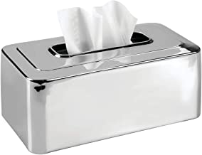 mDesign Modern Metal Tissue Box Cover for Disposable Paper Facial Tissues, Rectangular Holder for Storage on Bathroom Vanity, Countertop, Bedroom Dresser, Night Stand, Desk, Table - Chrome