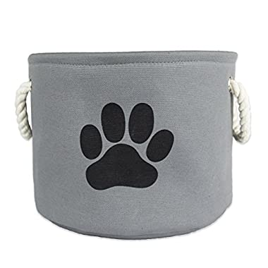 Bone Dry DII Medium Round Pet Toy and Accessory Storage Bin, 14.5 (Dia) x12(H), Collapsible Organizer Storage Basket for Home Décor, Pet Toy, Blankets, Leashes and Food-Gray with Black Paw