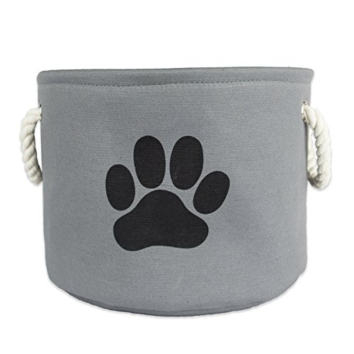 Bone Dry Paw Print Collapsible Polyester Pet Storage Bin, Round Medium - 15 x 15 x 12', Paw Print Gray