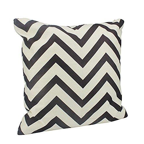 Aikesi Taie d'oreiller Mode Simple lignée avec Lame dentelée Forme Coton Canapé Housse de Coussin Taie d'oreiller 45 * 45 cm 45x45CM Noir