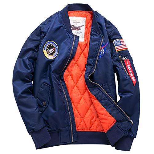 Mens USA Flag Lightweight MA-1 Flight Bomber Jacket Windbreaker Windproof Waterproof Coat (Ocean Blue, X-Large)