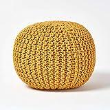 Homescapes Sitzhocker Strickpouf rundes Senf Bodenkissen Strick Sitzpuff 35 x 40 cm, Strickhocker mit grob gestricktem Bezug aus 100% Baumwolle, Füllung aus 100% Polystyrol