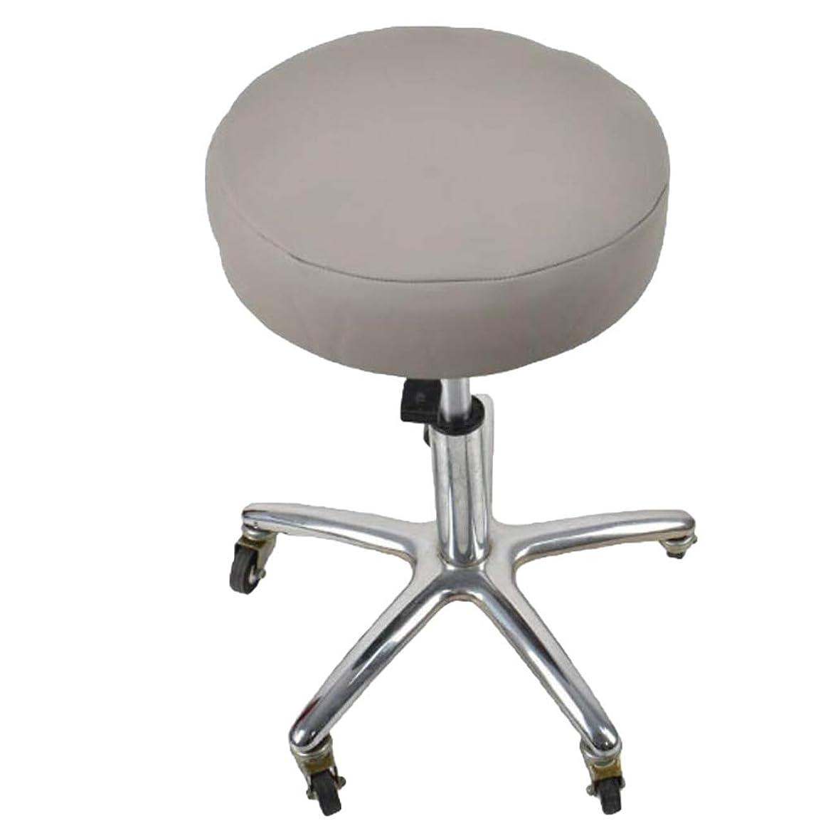 故障浸透する反対したB Blesiya スツールクッション ラウンド 丸椅子カバー 座布団カバー 防水 PVC製 取り付け簡単 全6色 - グレー