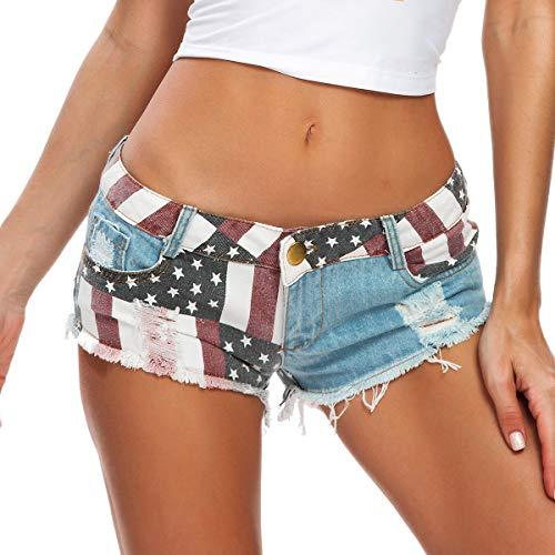 RuoFeng Women's Low Waist American Flag Print Daisy Duke Ripped Denim Jeans Sexy Beach Shorts (M) Blue
