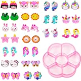 20 Pairs Clip on Earrings Princess Play Jewelry Earrings Set Mermaid Clipons Unicorn Clipon Earring Fruits Food Cartoon Dangle Earring Eardrop for Little Girls (Lovely Animal)