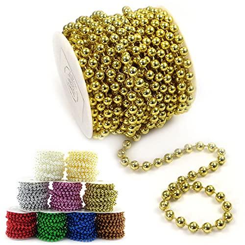 Sepkina Perlenband Perlenkette Baumschmuck Weihnachsbaum Perlengirlande Perlenschnur Weihnachten Advent Hochzeit Deko Tischdeko Meterware 10 Meter Gold (S-P6-03-gold-10m) (0,90€/m)
