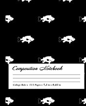 Fish Composition Notebook: Wide-Ruled, 7.5 x 9.25, 100 Pages, For kids, teens, and adults, Animals ,Fish
