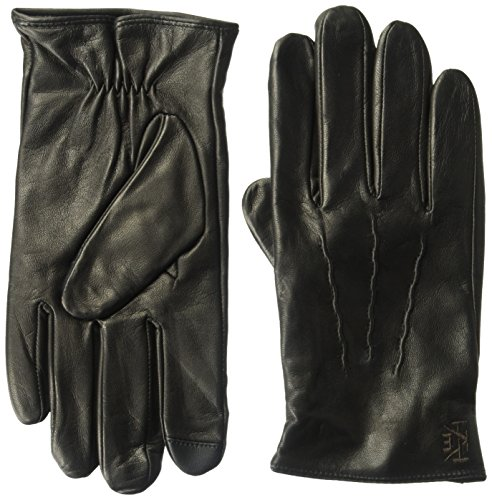 Ike Behar Men's Lambswool Lined Leather Touchscreen Gloves, black, Medium