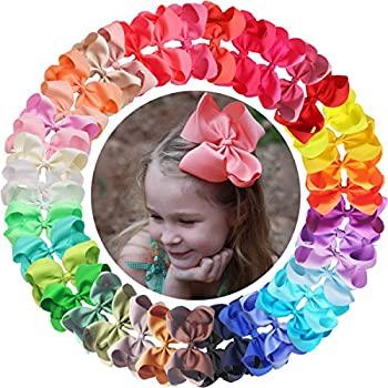 40PCS 6Inch Hair Bows Clips Large Big Grosgrain Ribbon Bows Alligator Hair Clips Hair Accessories for Baby Girls Toddlers Kids Children Teens