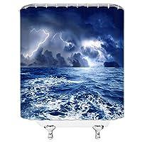 ランドスケープシャワーカーテンサマーシーウォータービーチヨットグリーンプラントカモメフェリーバスルームの装飾防水布カーテン - 180X180CM