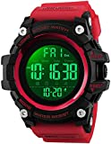 Men's Analog Digital Waterproof Sports Watch Military Multifunction Dual Time Stopwatch Alarm Backlight 50M Water Resistant Watch (Red)