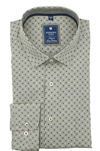 Redmond – Regular Fit – Camicia da uomo a maniche lunghe con colletto Kent e tasca sul petto (201060111) Verde (60). XXXL