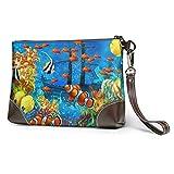 Bolso de mano de cuero Ocean Tropical Fish Coral Undersea World Fish Bolso de...