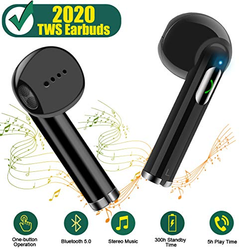NUATE [2019 Upgrade] True Wireless Earbuds, TWS Stereo Sound Bluetooth Headphones, Bluetooth 5.0, Longer Battery Time, Noise Cancelling Wireless Headphones, One-Step Pairing