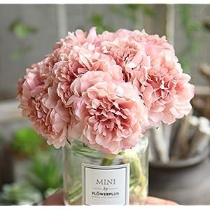 EasyLife 5.5 * 10.2 pulgadas, 5 botones florales, flores artificiales de peonía, 3 piezas por juego, flores para la boda…