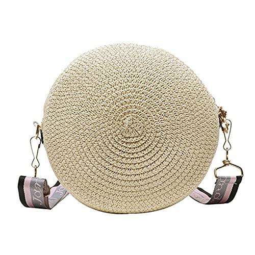 JINGDU - Bolso bandolera para mujer, tejido de paja, pequeño, con hombro redondo, para compras, bolsa de felpa, bolsa de playa de verano