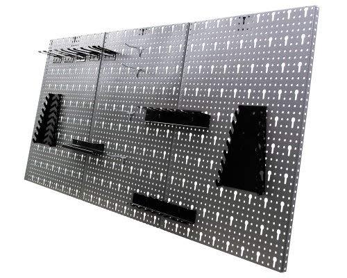 Ondis24 Werkstatteinrichung grau Werkbank Werkzeugschrank abschließbar Lochwand mit Haken 240 x 60 x 202 (H) cm - 5