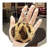 HNZZ Boule Porte-clés léopard en Peluche Coeur Keychain Rond Balle bibelot Sac Voiture Porte-clés Cadeau Porte-clés (Color : 5)