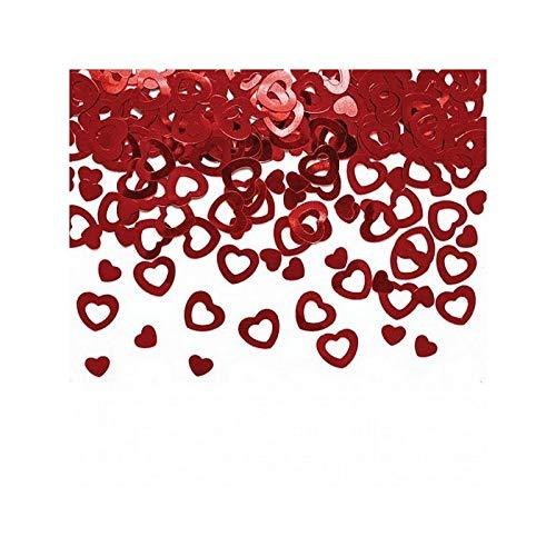Efco Confettis métallisés Cœurs Rouges 2 Tailles, Ø 7 et 13 mm, Sachet de 20 g de Paillettes Rouges