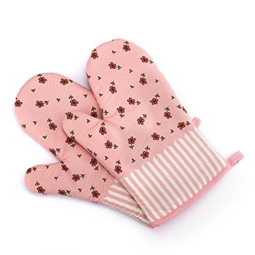 NEW Handschuh Mikrowelle Grill Ofen Baumwolle Backtopf Mitts Kochen Hitzebeständige Küche, Gesteppte Baumwolle Set Mit 2 Fäustlinge (Color : Pink flowers)