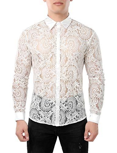 JOGAL Herren Transparent Blumen Spitze Button Down Langarm Hemd X-Large WeißHahnenkamm