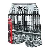 Pantalones de Playa para Adolescentes,Cabina de teléfono roja Hito de la Ciudad de Londres,Ropa de Playa Trajes de baño Shorts de Playa XS