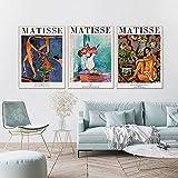 YCHND Mundialmente Famoso Henri Matisse Fauvismo Pintura Cuadros De Pared ExposicióN PóSter Impresiones Arte De La Lona De La Vendimia para La Salon De Estar Decoracion del Hogar 40x60cmx3 Sin Marco