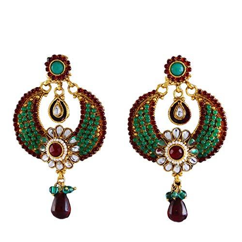 JewelryGift Fancy Design Chandbali Earrings Gold Plated Rich Designer Fashion Jewellery for Sister Wife MBE 4-GREEN-MAROON