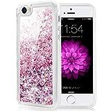 Caka iPhone 5 5S SE 2016 Case, iPhone SE Glitter Case Luxury Fashion Bling Flowing Liquid Floating Sparkle Glitter Soft TPU Case for iPhone 5 5S SE 2016 (Rose Gold)