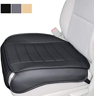 Car Seat Cushion, Edge Wrapping Car Front Seat Cushion Cover Pad Mat for Auto Supplies Office Chair with PU Leather (Black)