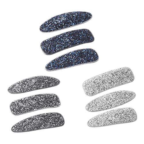 Lurrose 9pcs Luxus Strass Haarspangen Glitter Diamond Snap Clip Haarspangen für Mädchen