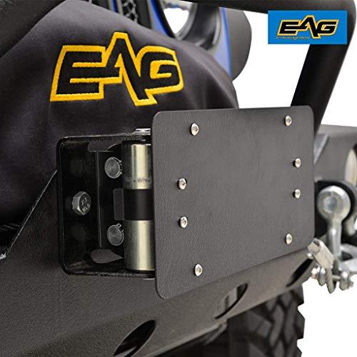EAG Black License Plate Mount Bracket Universal for Roller Fairlead