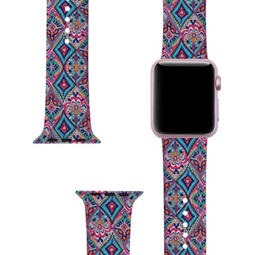 LitoDream Compatible with Apple Watch Band 42mm 44mm Silicone Cute Strap iWatch Band Flower Wristbands Replacement for Apple Watch Series 4/3/2/1 Sport Edition (42mm/44mm, M/L, Tribal Print)