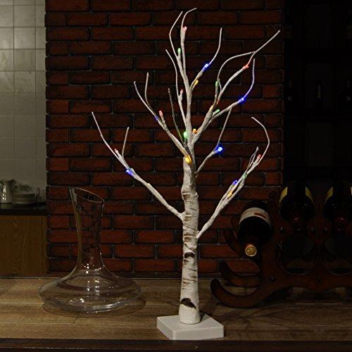 DAXGD Lampada da tavolo a LED Albero di betulla bianco, 23.6 pollici, perfetto per la festa di nozze del partito di Natale (Luce multicolore)