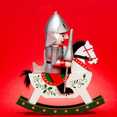 Sikora Serie E große XL Nußknacker Reiterlein Weihnachts Deko Figur aus Holz, Farbe/Modell:E01 Silber - Ritter, Größe:Höhe ca. 25 cm
