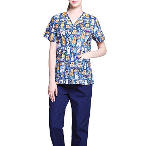 Jiyaru Uniforme Médico Ropa Enfermera de Manga Corta Bata Médico Laboratorio Enfermera Sanitaria Mujer M